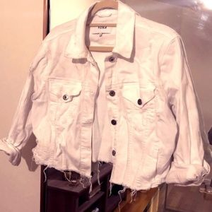 White Distressed Denim Jacket - DRY CLEANED